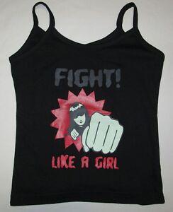 Rockabilly-Psychobilly-FIGHT-LIKE-A-GIRL-Designer-Black-Spaghetti-Strap-Top-S