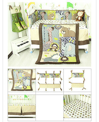 7 Piece Boy Baby Bedding Set Animals World Nursery Quilt Bumper Sheet Crib Skirt, used for sale  Shipping to Canada