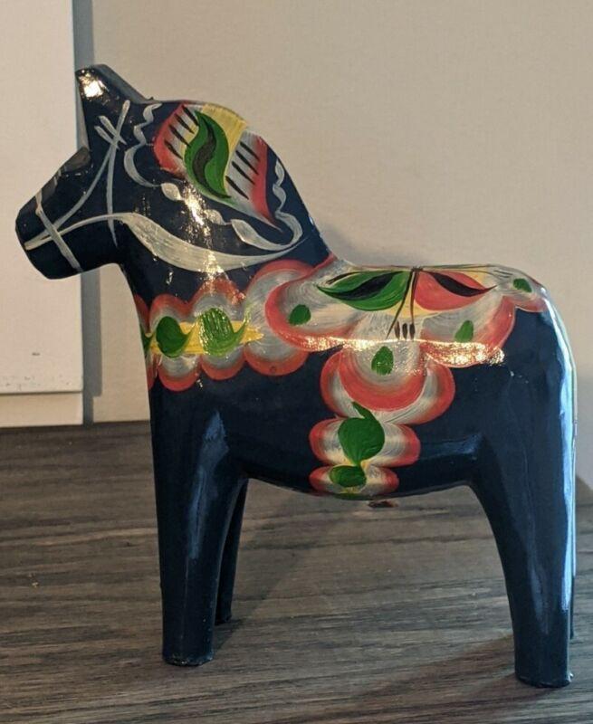 "Vtg Swedish Dala 5"" Blue Horse"