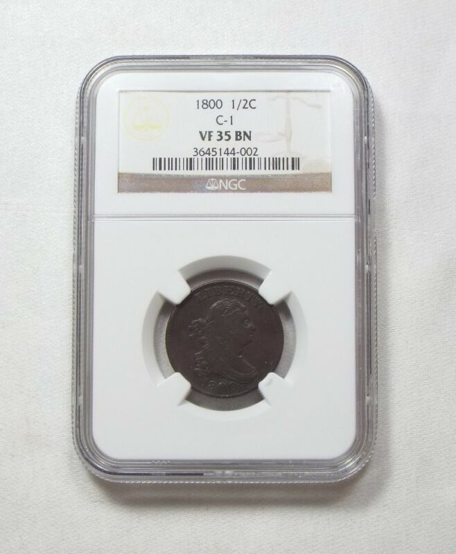 1800  Draped Bust Half Cent CERTIFIED NGC VF 35 BROWN C-1