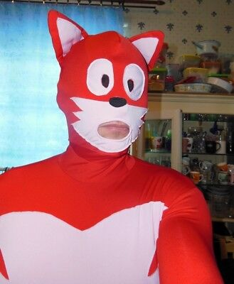 Red Fox Cat suit zentai morthsuit L fetish halloween
