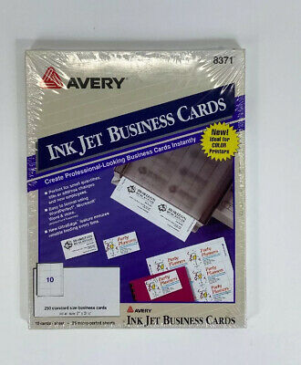 New Avery 8371 Ink Jet Business Cards 10 Pages 250 Cards 2in X 3-12in