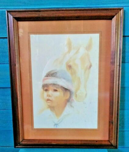 Wood Frame Art Print Young Boy & Horse by Lea Ames Early Americana Reproduction