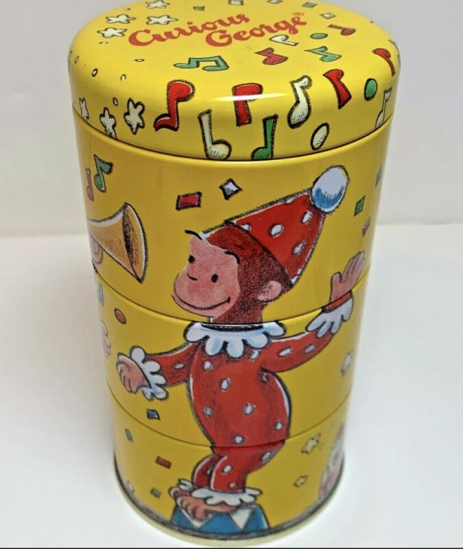 """Vintage Curious George 3 pc twisting collectible tin by Schilling. 1995 6 """"H"""