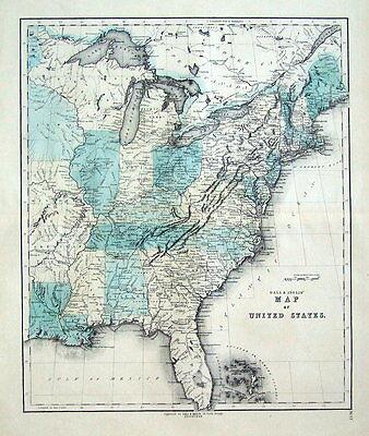 UNITED STATES OF AMERICA, Gall & Inglis original antique hand coloured map c1850