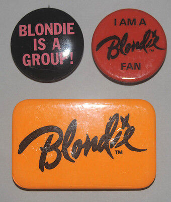 Blondie rare original Buttons from Fan Club Debbie Harry pinbacks badges pins