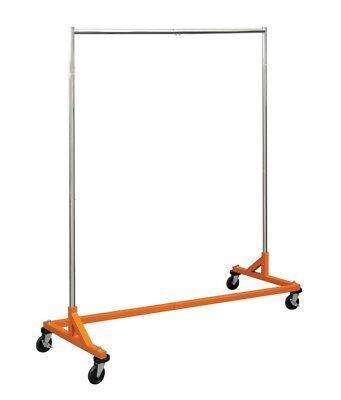 Kd 5 Ft Orange Portable Commercial Grade Z Rack Clothing Garment Clothes Rolling