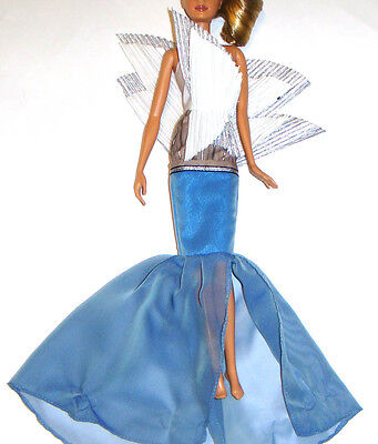Barbie Fashion Blue/White Dress For Model Muse Dolls fn818