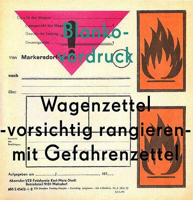 Wagenzettel Deutsche Reichsbahn DR Bf Markersdorf-Taura VEB Fettchemie Mohsdorf