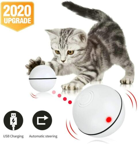 Cat Toy Interactive Automatic Self Rotating Rechargeable LED Rolling Motion Ball