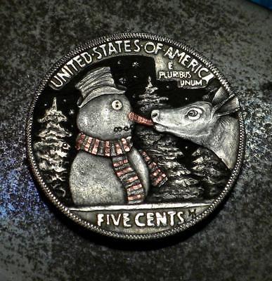 Original Hobo Nickel Deer Snowman Christmas Coin by Howard Thomas OOAK
