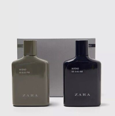 Zara Weekend 8pm Till 3am 2 X 100 ml EDT Aftershave Spray For Men twin Pack.