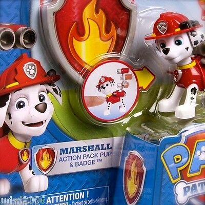 Nickelodeon PAW PATROL MARSHALL Action Pack Pup & BADGE Water Canon Pops Fire
