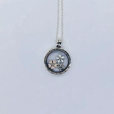 Pandora Medium Floating Locket Necklace W/Poetic Bloom -