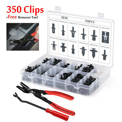 350pcs Auto Car Push Retainer Rivet Trim Clip Panel Moulding Assortment +Tool x2