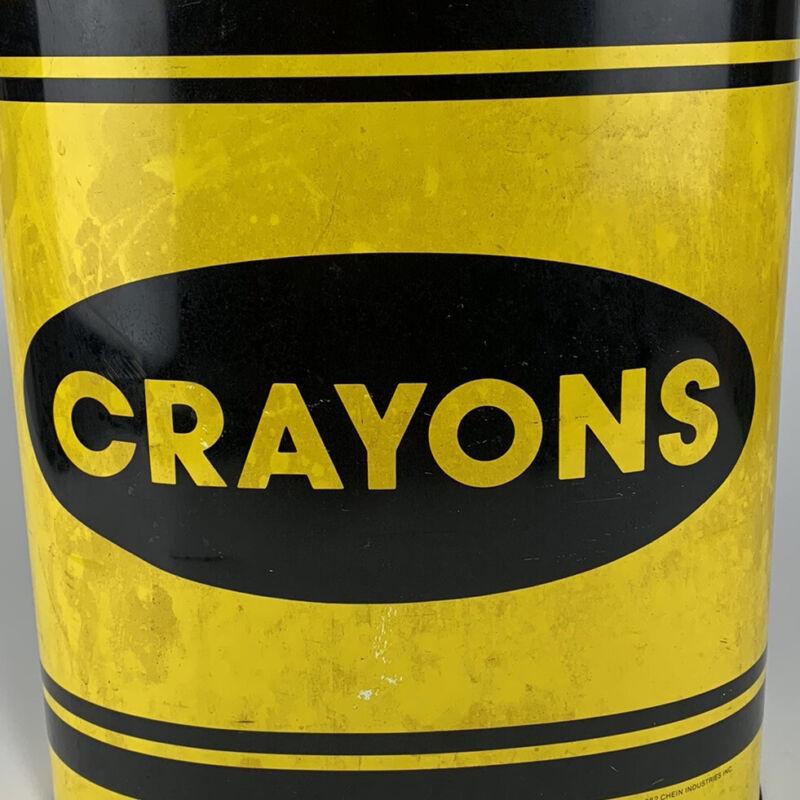 Vintage Cheinco Metal Trash Can Yellow and Black Crayon 1982