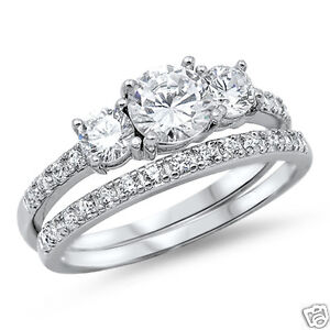 Wedding Set Rings Sterling Silver Rhodium Plated Best Price Jewelry Selectable