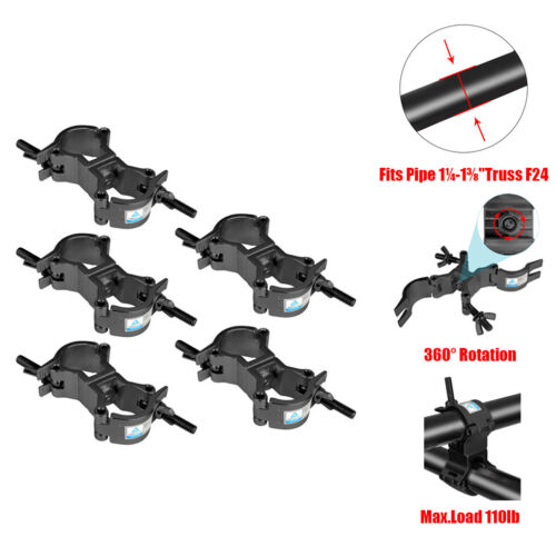 """5 Pack Dual Swivel Clamp Turn Two 360 Degree Clamps Fits Pipe 1¼-1⅜"""" Truss F24"""