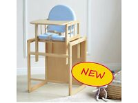 NEW UNOPENED BLUE 3 IN 1 BABY WOODEN HIGH CHAIR WITH PLAY TABLE CUSHION & HARNESS