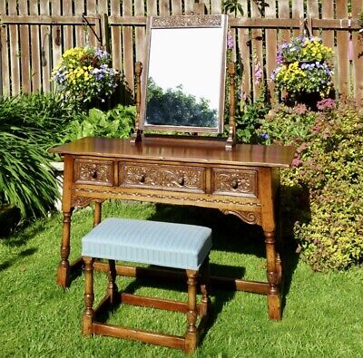 TITCHMARSH & GOODWIN ENGLISH OAK DRESSING TABLE AND STOOL VINTAGE ORIGINAL