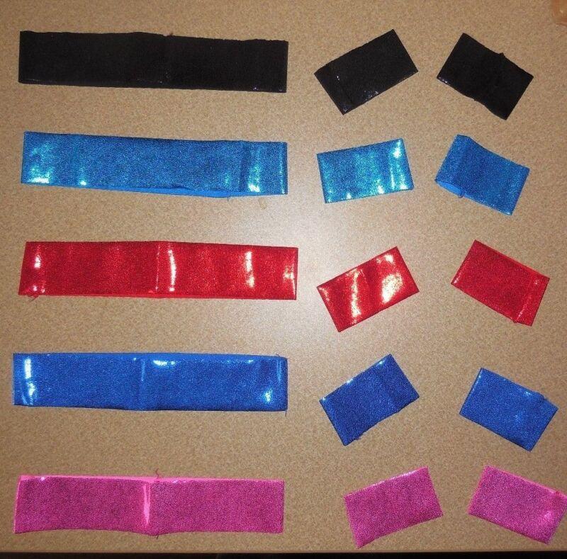 Lot of 21 Sets Hatbands & Wristlets in 4 colors 1 size child adult Foil Spandex
