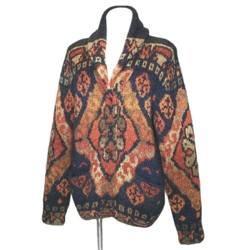 Denim & Supply Ralph Lauren Cardigan Southwest Alpaca Blend Aztec Cowl Fuzzy XL