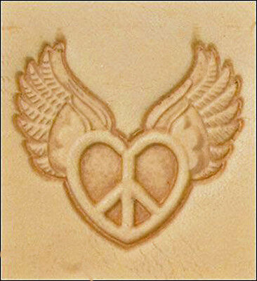 Discontinued 8615 Flying Heart Peace Craftool 3-D Stamp Tandy Leather 8615-00 - Flying Heart