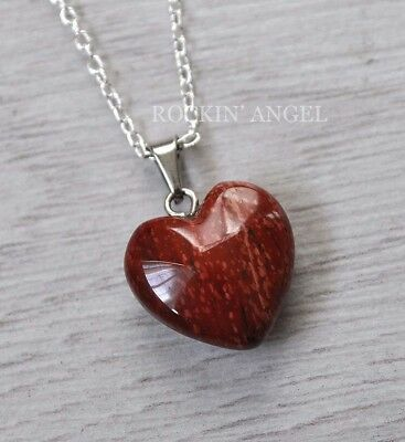 Red Jasper Heart Necklace - 925 Silver Necklace & 16mm Natural Red Jasper Heart Pendant Ladies Gift Reiki
