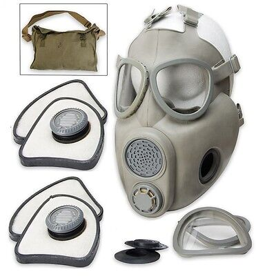 Czech Military M10 Nbc Gas Mask W 2 Filter Sets  Carry Bag   New Factory Sealed