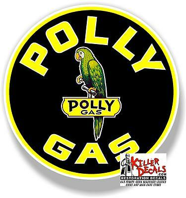 "(POLLY-5) 8"" ROUND POLLY GAS DECAL OIL GASOLINE PUMP SIGN STICKER"