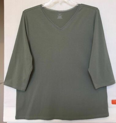 CJ Banks Sage Green Knit Top, 3/4 sleeves, lace trim Sizes 1X, 2X, 3X NWT