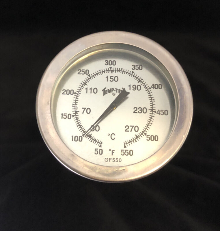 """Thermometer 2"""" Face 8"""" Stem -50-550°F For BBQ/Liquids/Meat"""