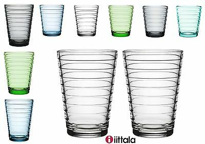 Iittala Aino Aalto x2 Glass Tumblers 22cl/33cl in Clear, Blue, Green or (Aino Glasses)