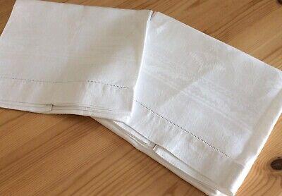 "Pair Gentleman's Antique Damask Linen Bath Towels 34""/20"" c1940"