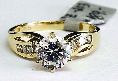 Solid 14K Yellow Gold Channel Set Solitaire Engagement Ring, 7mm Cubic Zirconia