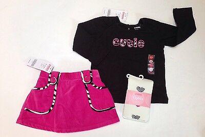 NWT Gymboree Wild One 18-24 Black Cutie Tee Pink Zebra Trim Skort Skirt & Tights Wild One Black Zebra