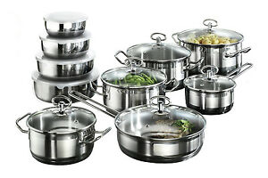 Induction Hob Saucepan 20 Piece Cookware Set with Roasting Pot 4 Bowls Non Stick