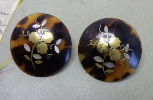 Antique Tortoise Pique Earrings w/ Gold Silver & MOP Inlay