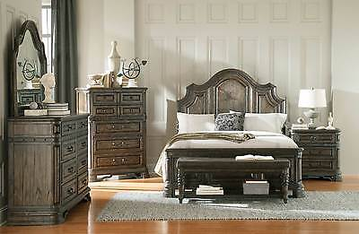 RUSTIC SPANISH STYLE 4 PC QUEEN BED N/S DRESSER MIRROR BEDROOM FURNITURE SET