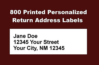 800 Personalized Printed Return Address Labels - 12 X 1 34 Inch - 0.5 X 1.75