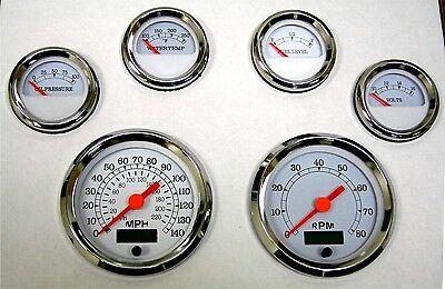 6 Gauge set, Speedo, Tacho, Oil,Temp,Fuel,Volt, white/chrome, blue LED, 043-WC