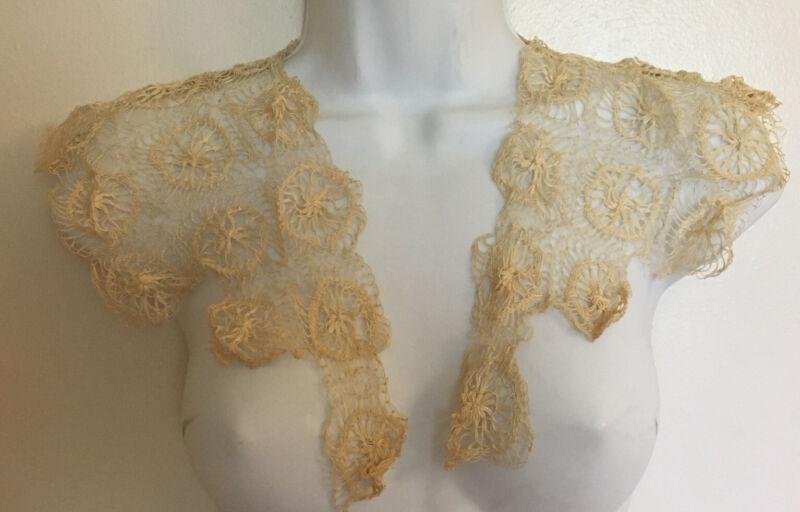 Antique Tenerife Lace Shawl Collar & Cuffs Ecru Handmade Trim