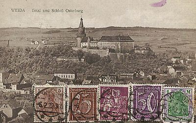 Weida Germany Totalansict Mit Schloss Osterburg Thuringia Used 5 Stamps 1922