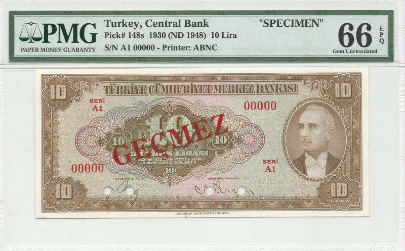 TURKEY P148s 10 LIRA 1930 PMG 66 EPQ SPECIMEN