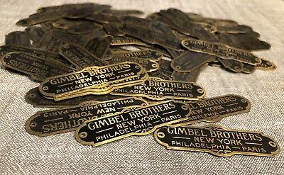 VINTAGE GIMBEL BROTHERS NEW YORK PARIS PLACARD BRASS NAME PLATE TAG