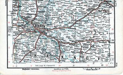 Bremen Soltau Verden Delmenhorst 1899 kl orig Eisenbahn-Teilkarte Elsfleth Berne