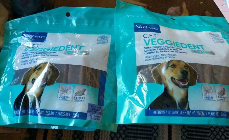 Virbac® C.E.T.® VeggieDent® MEDIUM 180 ct TARTAR Control Dog Chews FRESH  6 Bags