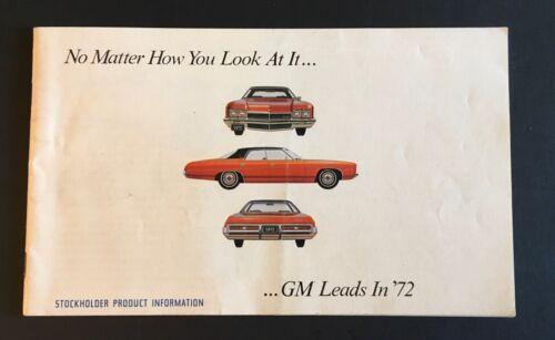 1972 General Motors GM Shareholders Full Line Catalog Sales Brochure