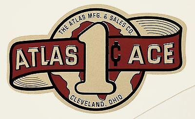ATLAS ACE, ONE CENT, VENDING, COIN OP, WATER SLIDE DECAL # DA 1035
