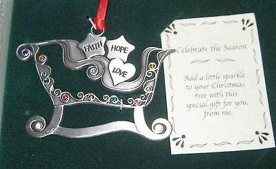 Sleigh Faith Hope Love Christmas Ornament Crystal Accents Pewter